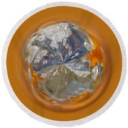 Bubble Out Of Orange Orb Round Beach Towel