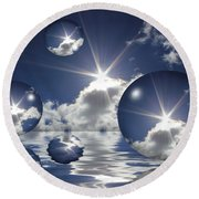 Bubbles In The Sun Round Beach Towel