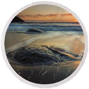 Bubbles On The Sand Round Beach Towel by Mike  Dawson