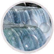 Bubbles Over Niagara Falls Round Beach Towel