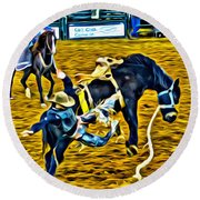 Bucked Off Proper Round Beach Towel