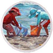 Buckets Of Fun Round Beach Towel