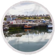 Buckie Harbour Round Beach Towel