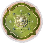 Buckingham Fountain From Above Round Beach Towel