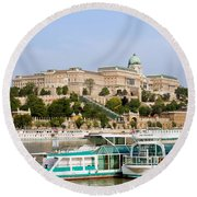 Buda Castle And Boats On Danube River Round Beach Towel