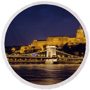 Buda Castle And Chain Bridge Round Beach Towel