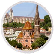 Buda Reformed Church In Budapest Round Beach Towel