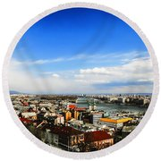 Budapest And Blue Danube Round Beach Towel