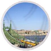 Budapest Cityscape And Liberty Bridge Round Beach Towel