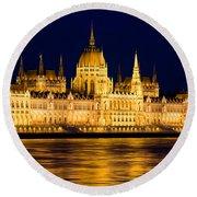 Budapest Parliament At Night Round Beach Towel