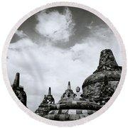 Buddha And Stupas Round Beach Towel