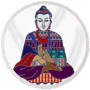 Buddha In Meditation Buddhism Master Teacher Spiritual Guru By Navinjoshi At Fineartamerica.com Round Beach Towel