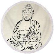 Buddha In Black And White Round Beach Towel by Pamela Allegretto