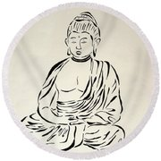 Buddha In Black And White Round Beach Towel by Pamela Allegretto