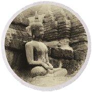 Buddha Sukhothai Thailand 5 Round Beach Towel