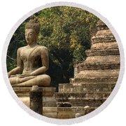 Buddha Sukhothai Thailand 6 Round Beach Towel