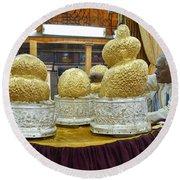 Buddha Figures With Thick Layer Of Gold Leaf In Phaung Daw U Pagoda Myanmar Round Beach Towel