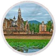 Buddhas At Wat Mahathat In 13th Century Sukhothai Historical Park-thailand Round Beach Towel