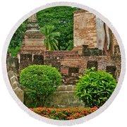 Buddhas In Wat Mahathat In 13th Century Sukhothai Historical Park-thailand Round Beach Towel