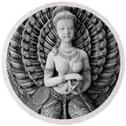 Buddhist Carving 02 Round Beach Towel