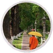 Buddhist Monk 01 Round Beach Towel