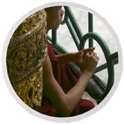 Buddhist Monk Leaning Against A Pillar Sule Pagoda Central Yangon Myanar Round Beach Towel