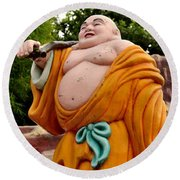 Buddhist Monk On Journey Haw Par Villas Singapore Round Beach Towel