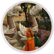 Buddhist Monk Thailand 3 Round Beach Towel