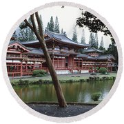 Buddhist Temple, Byodo-in Temple Round Beach Towel