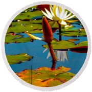 Budding Lilies Round Beach Towel