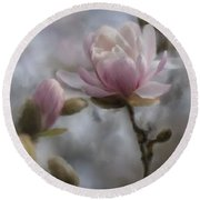 Budding Magnolia Branch Round Beach Towel