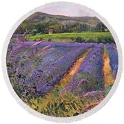 Buddleia And Lavender Field Montclus Round Beach Towel