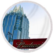 Budweiser And Building  Round Beach Towel