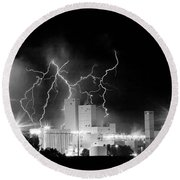 Budweiser Lightning Thunderstorm Moving Out Bw Pano Round Beach Towel