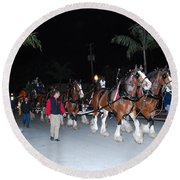 Budwiser Clidsdale Horses Round Beach Towel