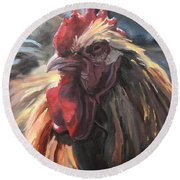 Buff Orpington Cockerel Round Beach Towel