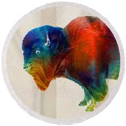 Buffalo Animal Print - Wild Bill - By Sharon Cummings Round Beach Towel