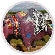 Buffalo Artwork Round Beach Towel