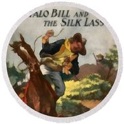 Buffalo Bill And The Silk Lasso Round Beach Towel by Dime Novel Collection