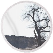 Buffalo Breath In The Winter Air Round Beach Towel