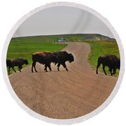 Buffalo Crossing Round Beach Towel