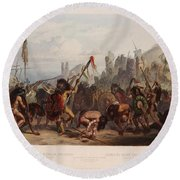 Buffalo Dance Of The Mandan Indians Round Beach Towel