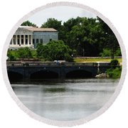Buffalo History Museum And Delaware Park Hoyt Lake Oil Painting Effect. Round Beach Towel