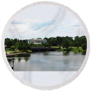 Buffalo History Museum And Delaware Park Hoyt Lake Oil Painting Effect Round Beach Towel