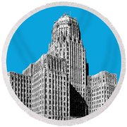 Buffalo New York Skyline 1 - Ice Blue Round Beach Towel