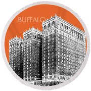 Buffalo New York Skyline 2 - Coral Round Beach Towel