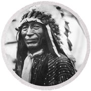 Buffalo Nickel Portrait Round Beach Towel by Underwood Archives