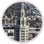 Buffalo Ny Electric Building Winter 2013 Round Beach Towel