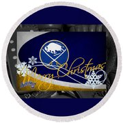 Buffalo Sabres Christmas Round Beach Towel