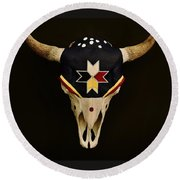 Buffalo Skull Round Beach Towel